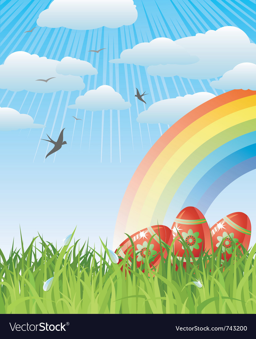 Easter with eggs birds and rainbow