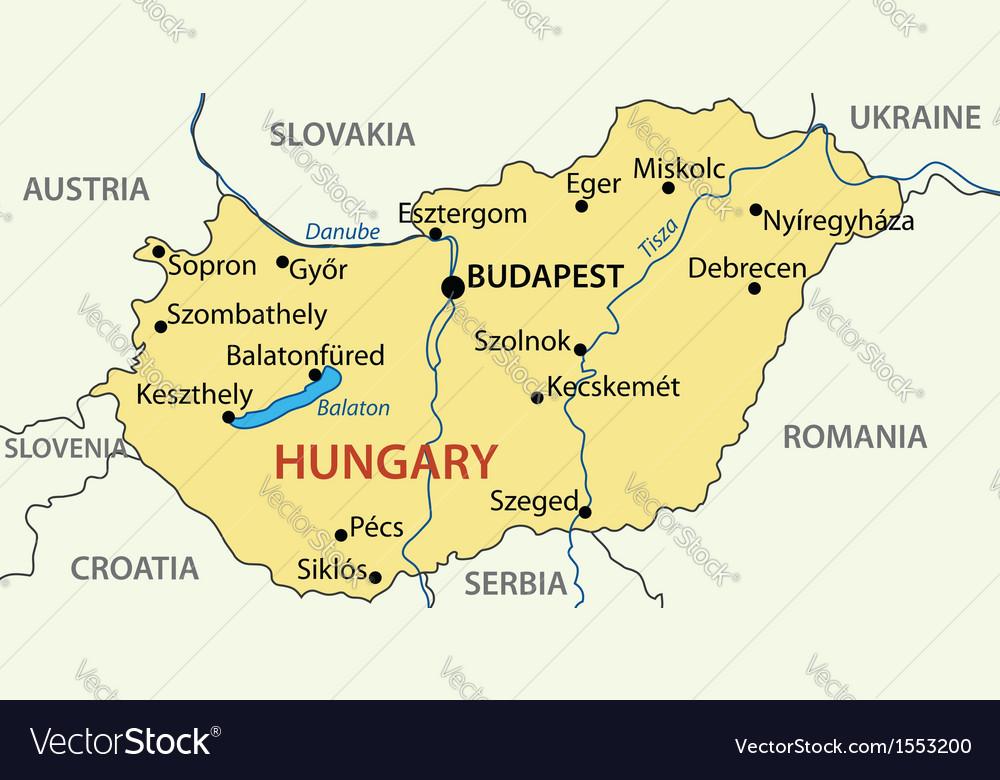 Hungary - map Royalty Free Vector Image - VectorStock