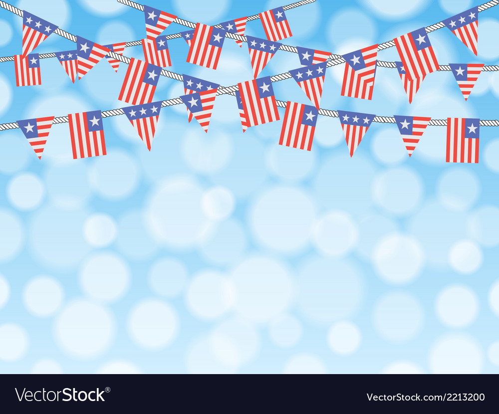 Patriotic bunting flags on bokeh background