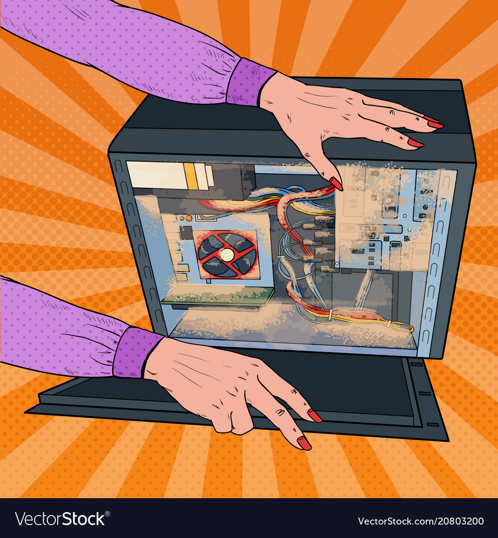Pop art woman cleaning dust in pc system unit