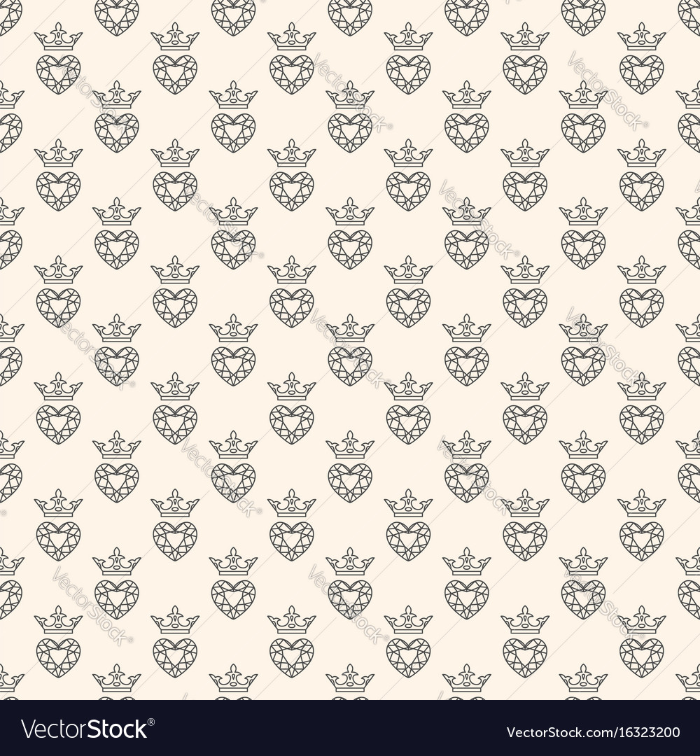 Seamless pattern with gemstone and crown
