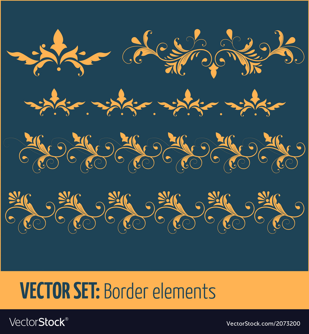 Set of border elements and page decoration
