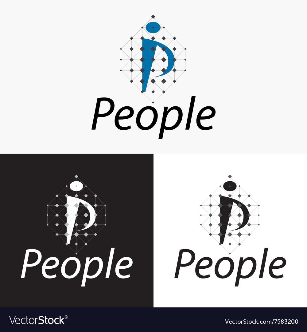 Stylized Logo letter P People logo vector image