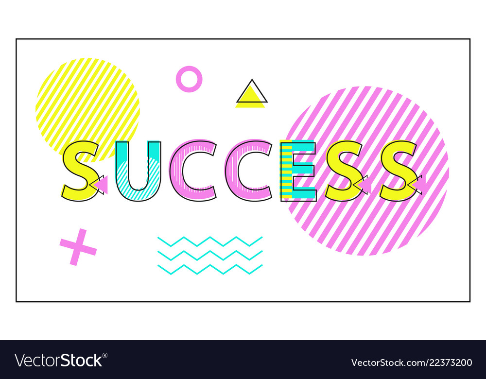 Success poster geometric figures in linear style