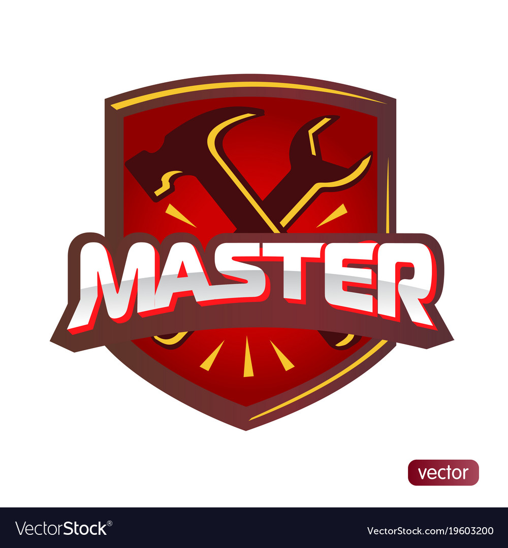 Text Master Hammer And Wrench Royalty Free Vector Image