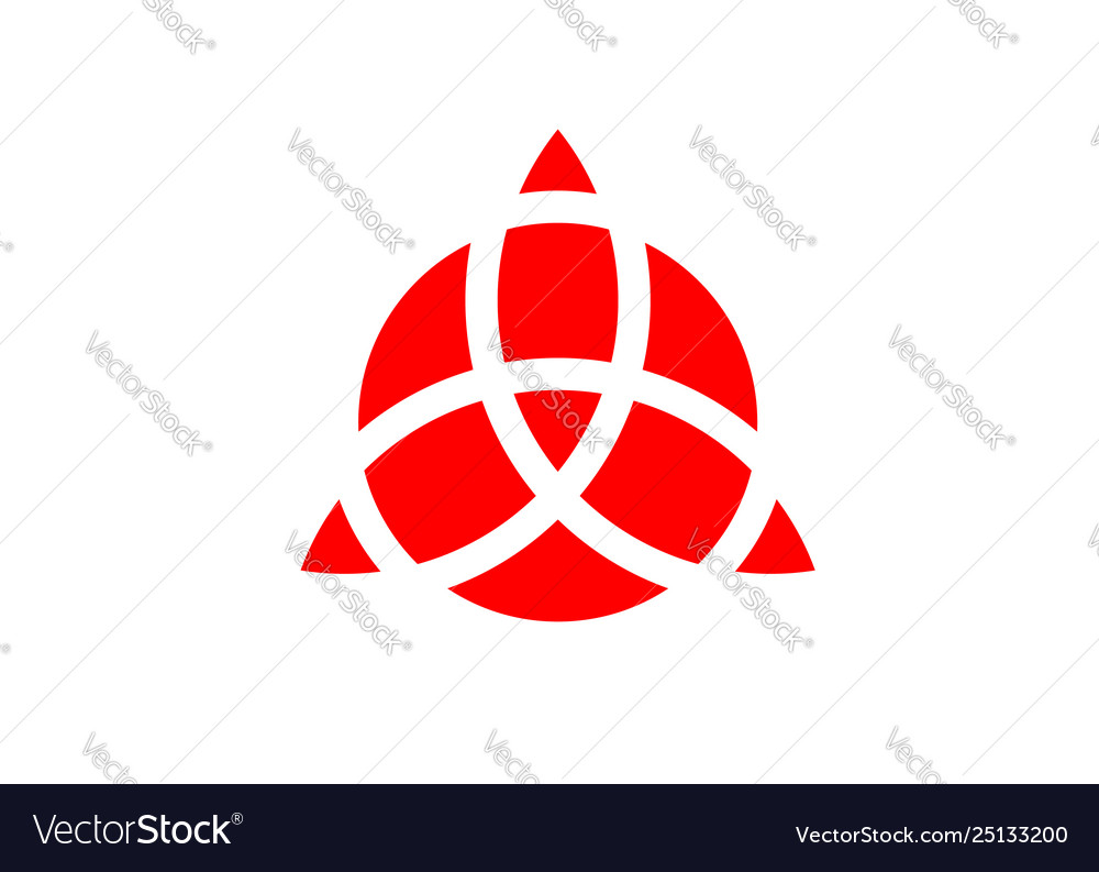 Triquetra geometric logo red trinity knot wiccan