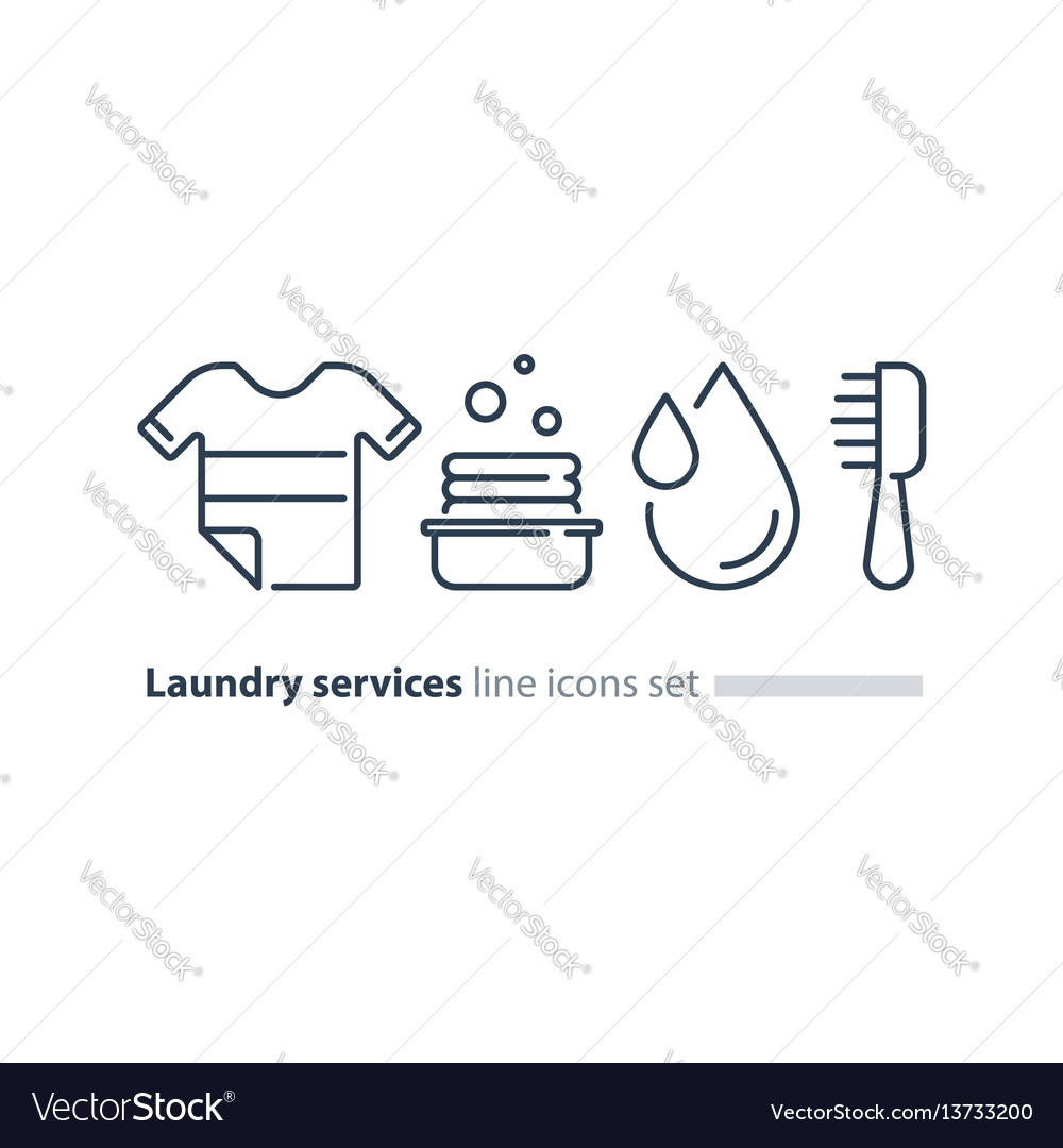Washing clothes laundry mono line icon t-shirt and