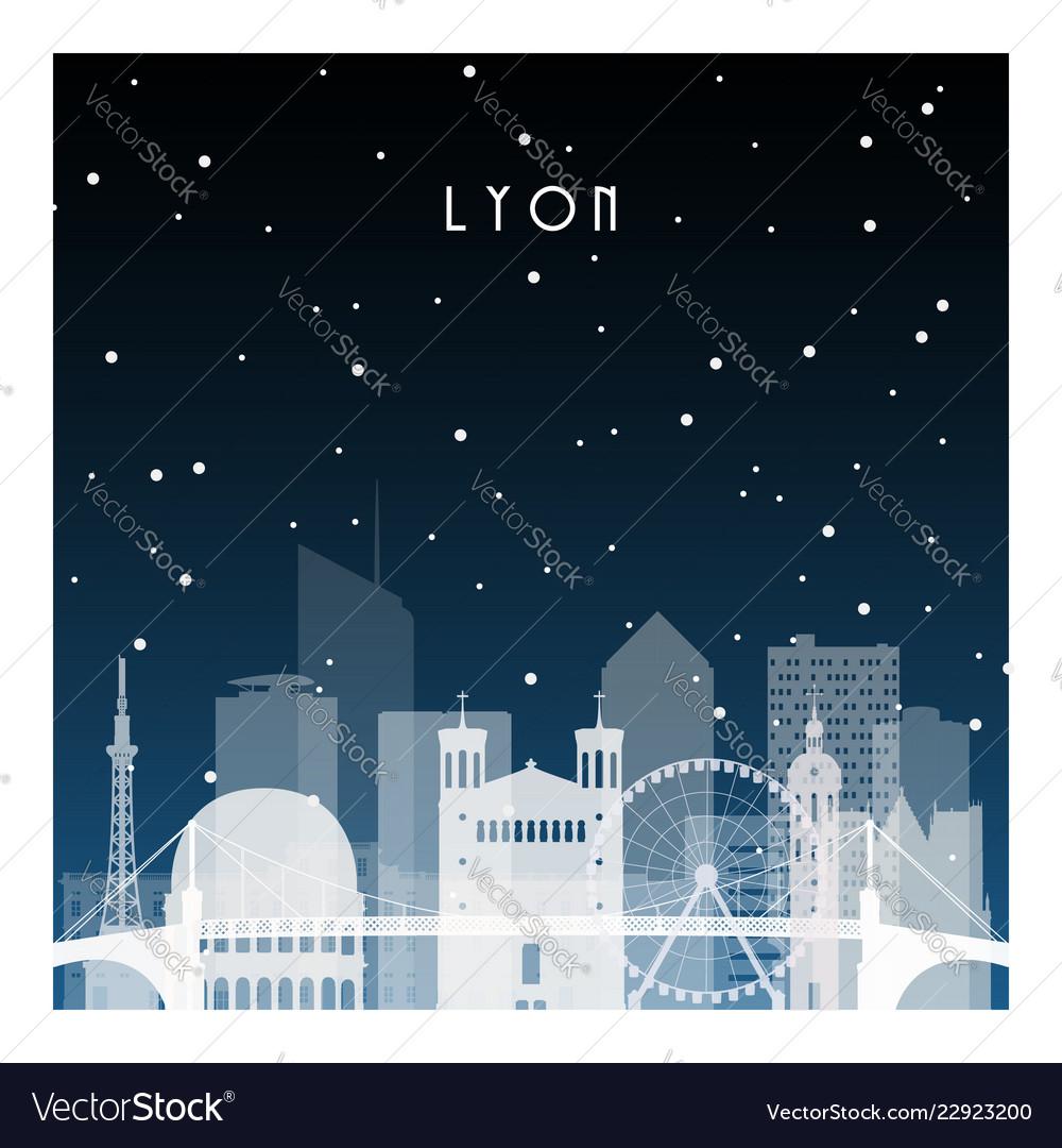 Winter night in lyon night city