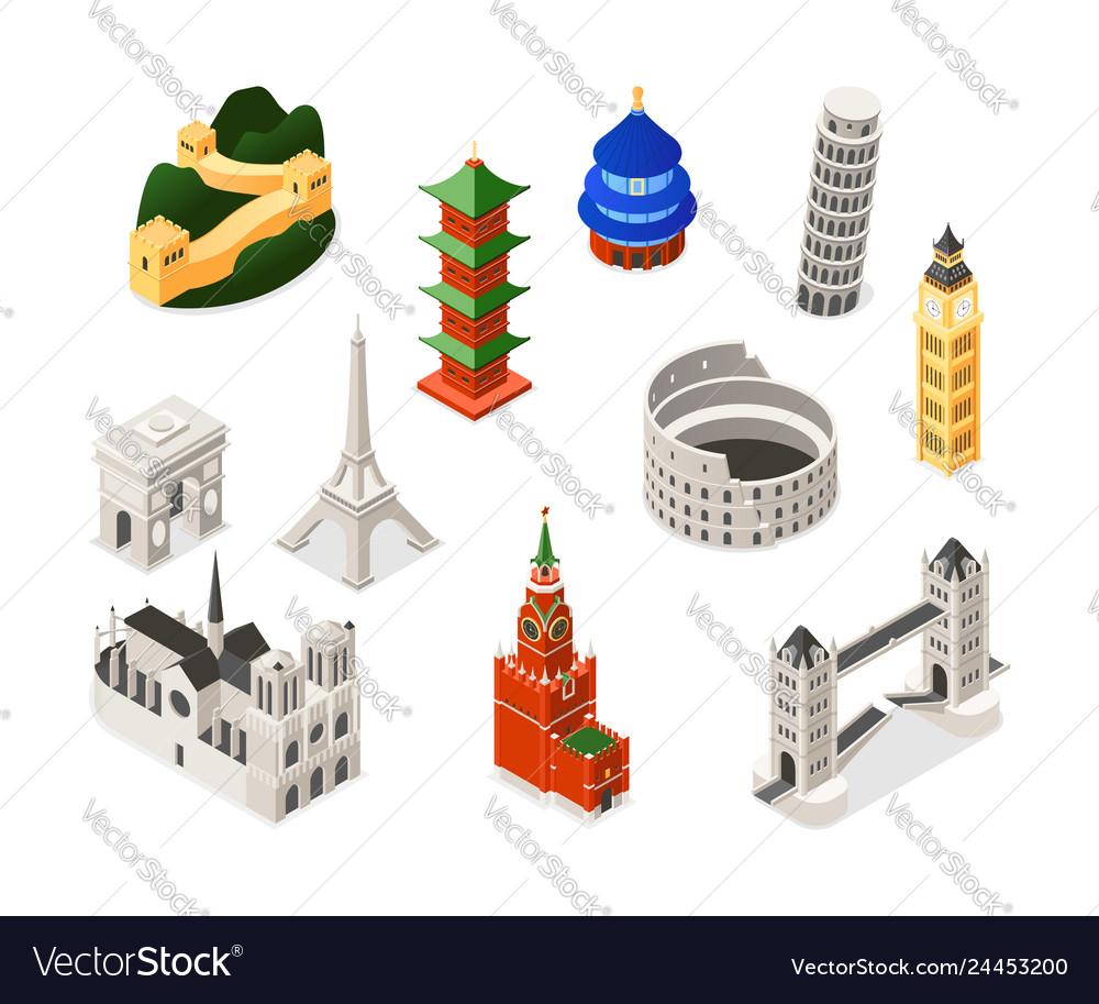 World famous landmarks - colorful isometric set of