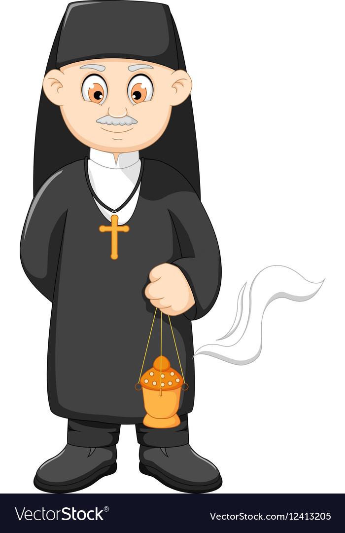 Cartoon catholic priest