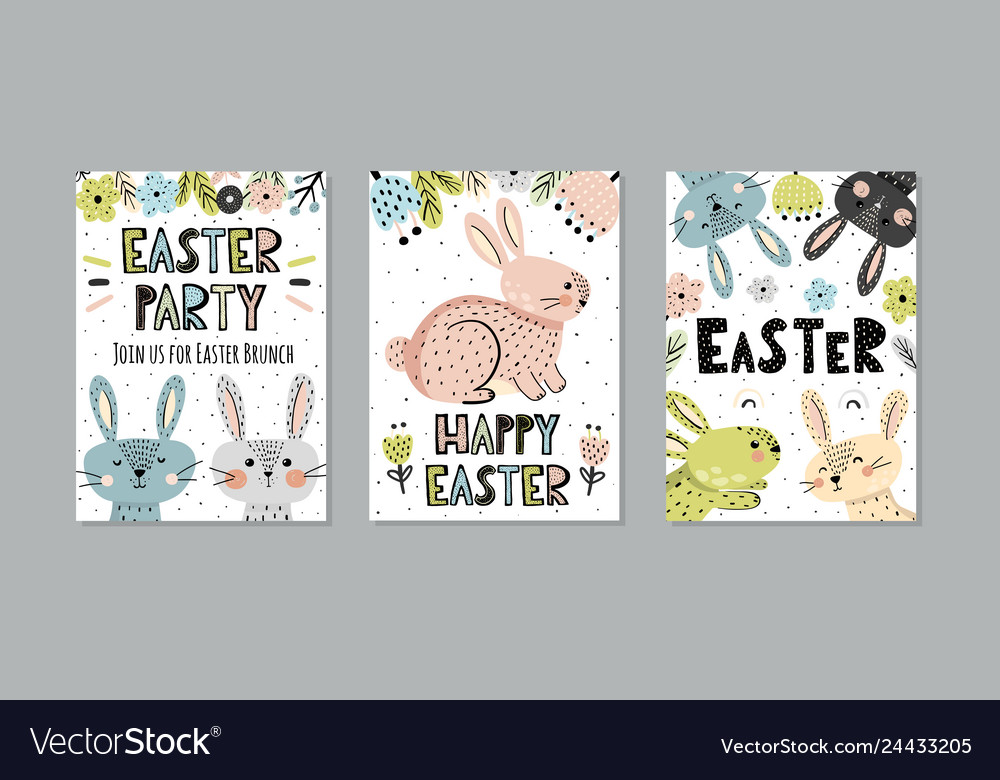 Cute easter invitations and greeting cards set