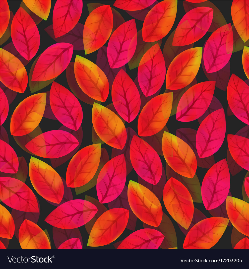 Floral seamless pattern with fallen leaves autumn