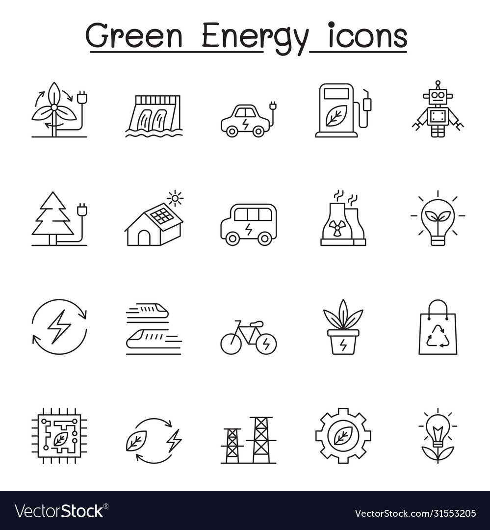 Green energy icons set in thin line style