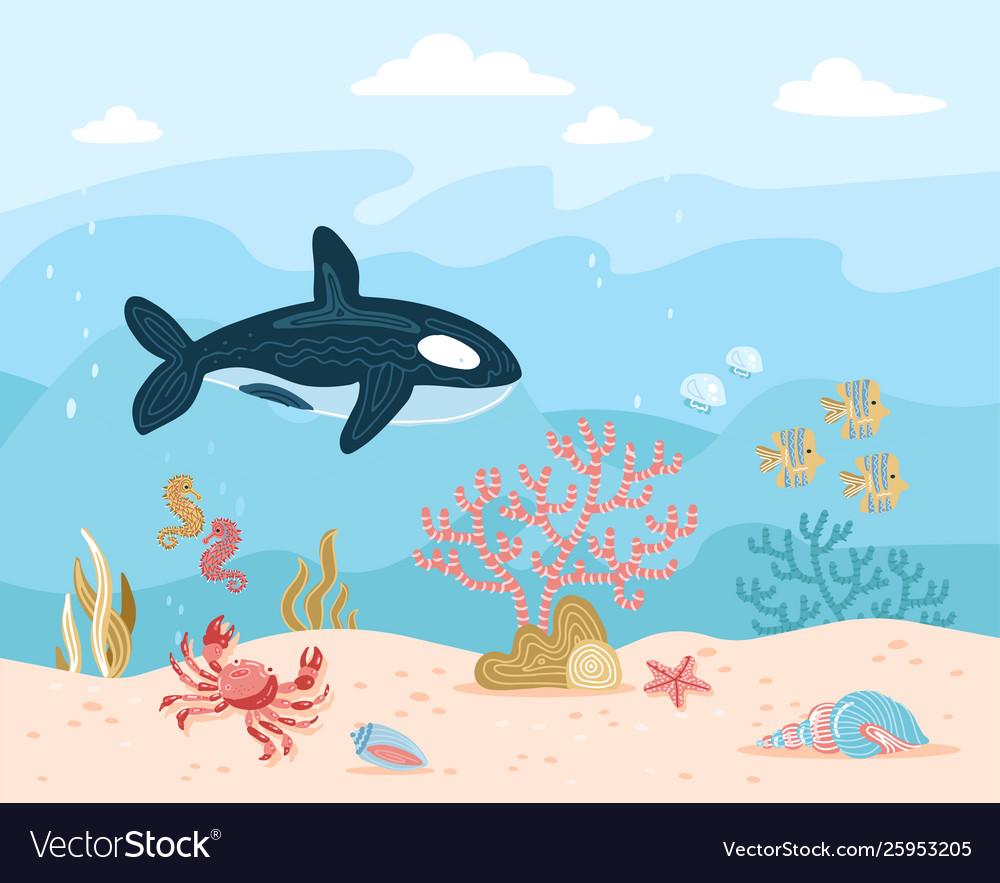 Hand drawn cartoon underwater