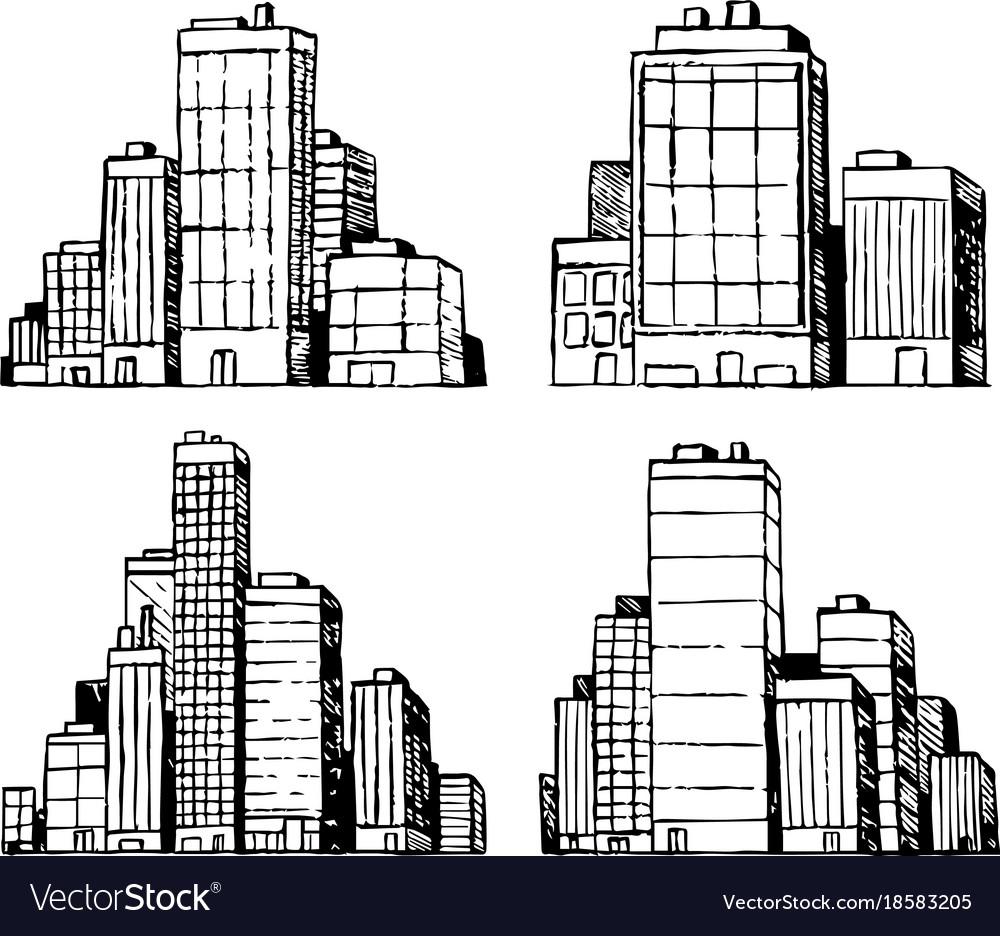 hand drawn urban buildings skyscrapers royalty free vector