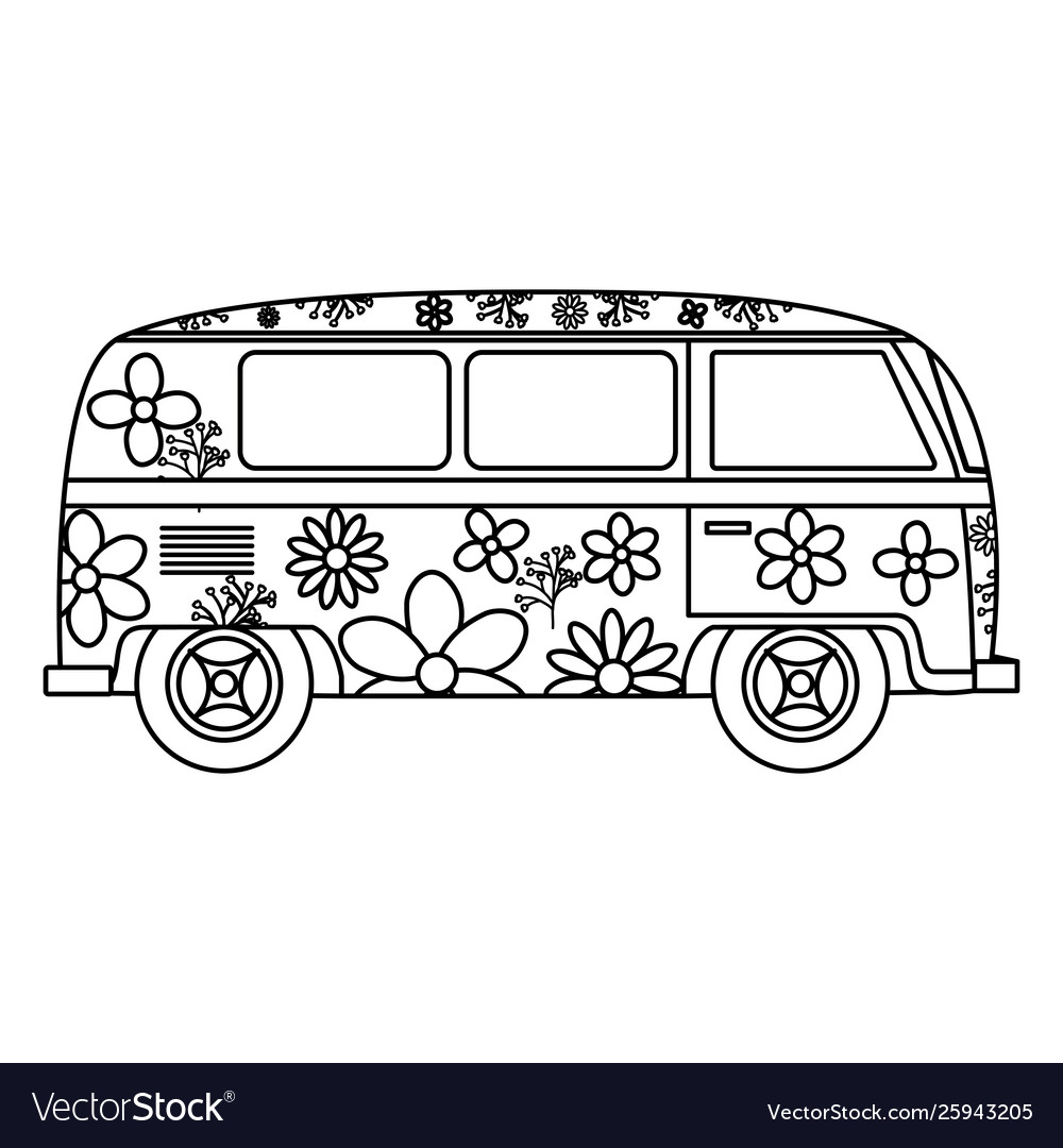 Hippie van with floral print icon