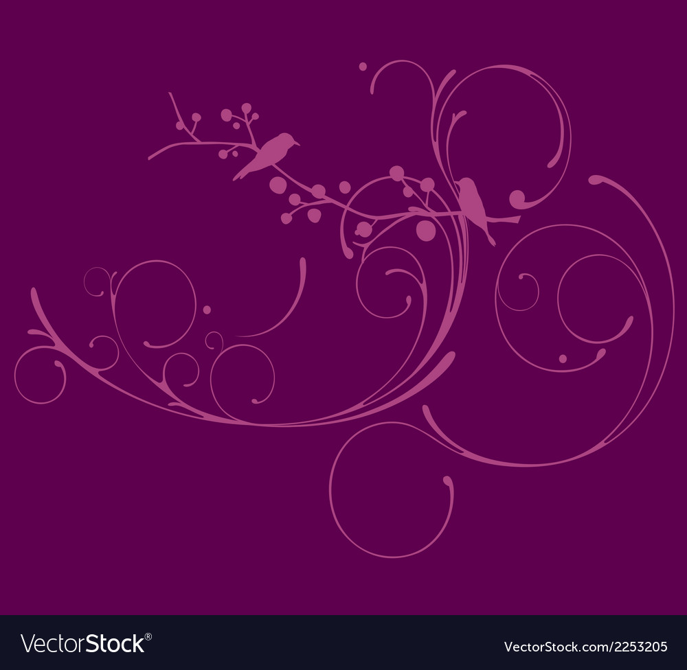Puple floral with bird blackground