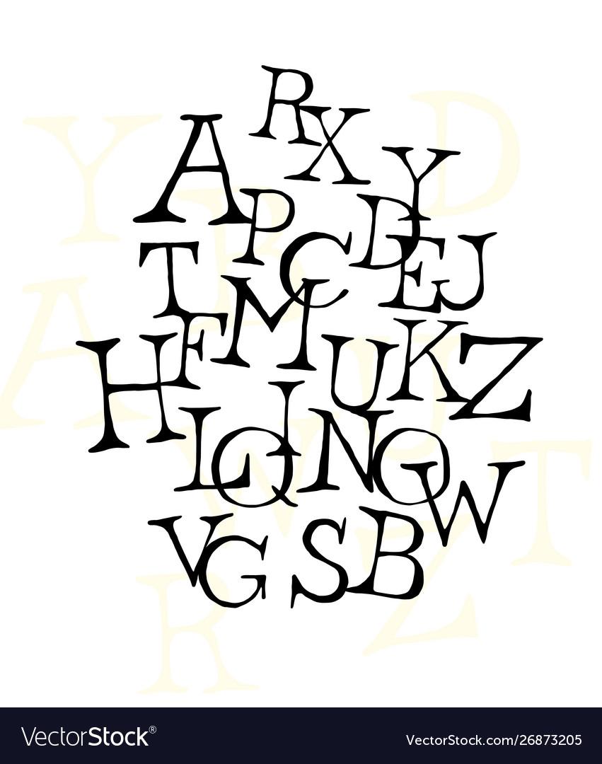 Set letters english font alphabet of