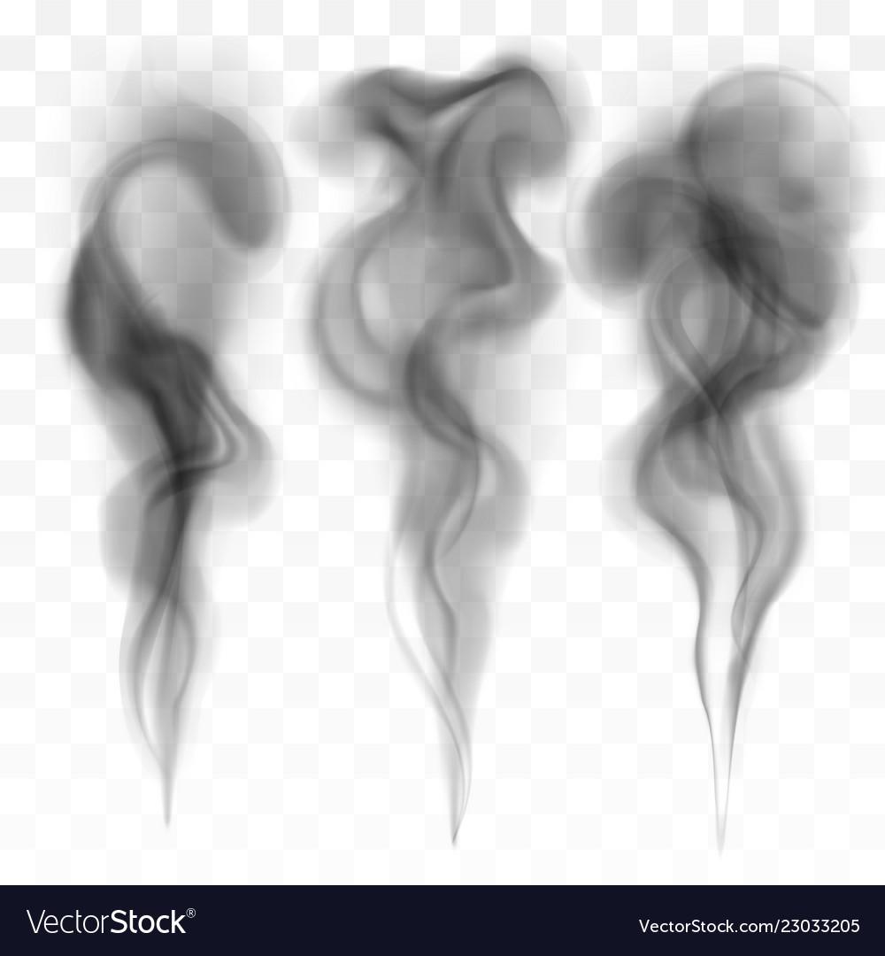 Set of digital realistic dark smoke