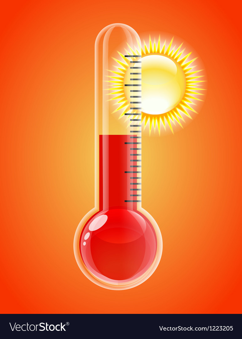 Thermometer with sun Hot weather Royalty Free Vector Image