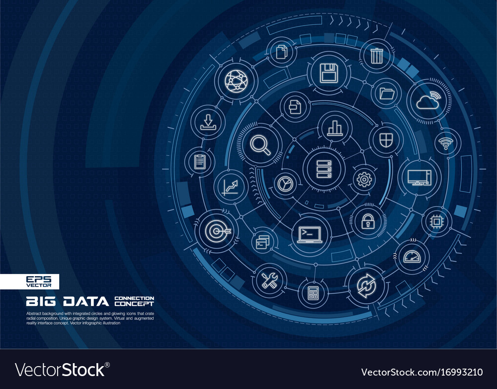Abstract big data background digital connect vector image