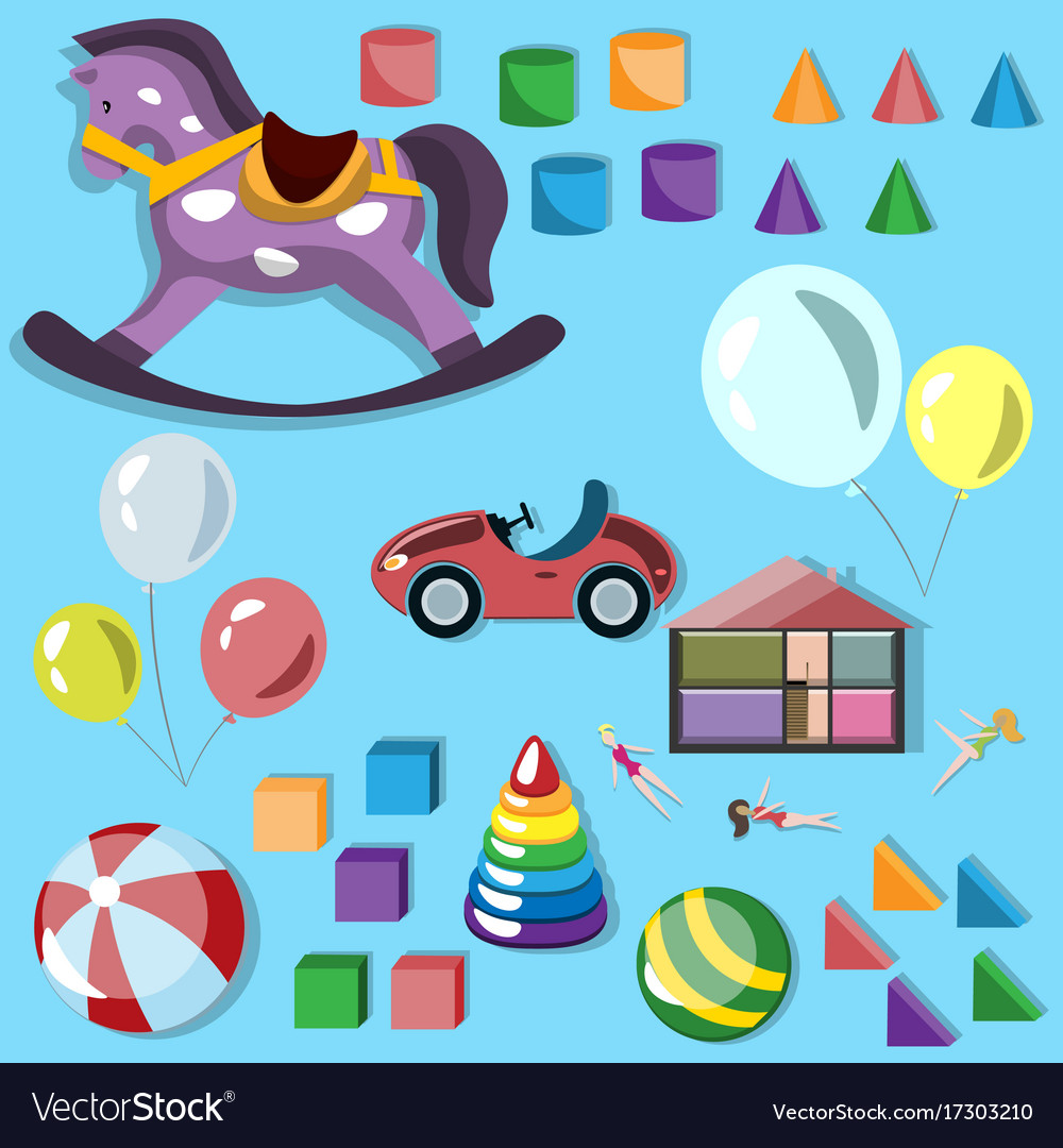 Baby different toys icon set