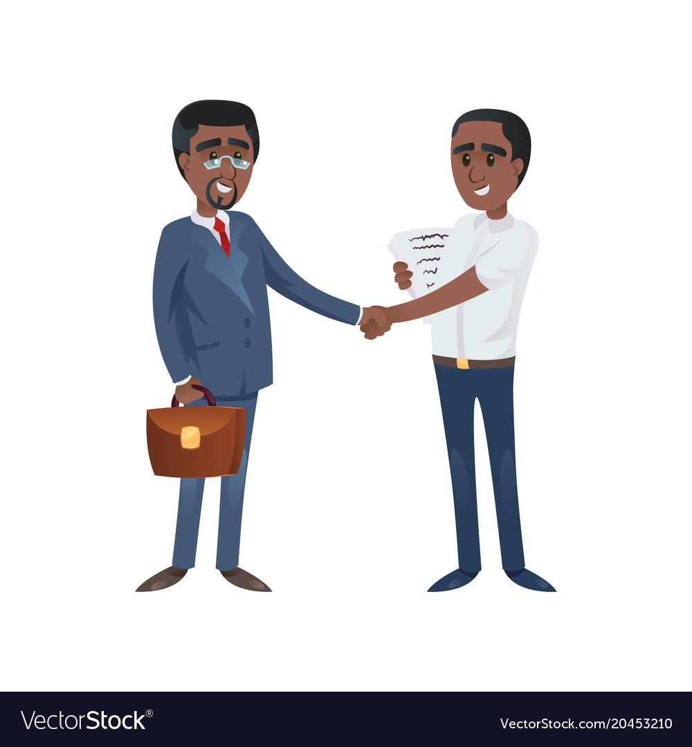 Black businessmen shaking hands vector image