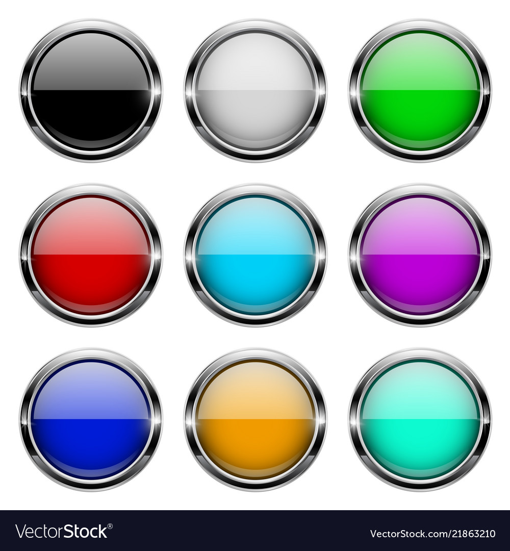 Colored glass 3d buttons with chrome frame round