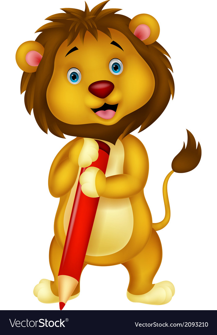 Cute lion cartoon holding red pencil vector image