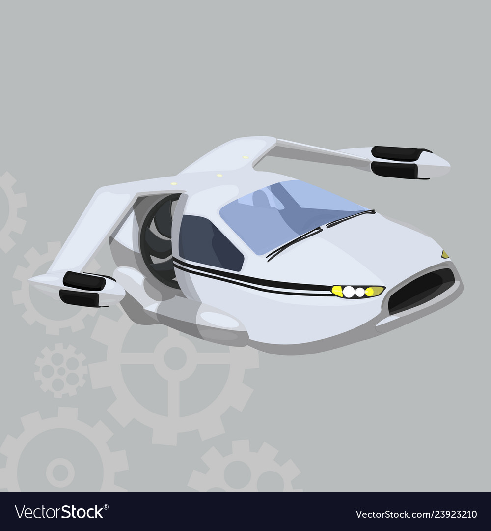 Flying Car Icon On A Grey Background Royalty Free Vector