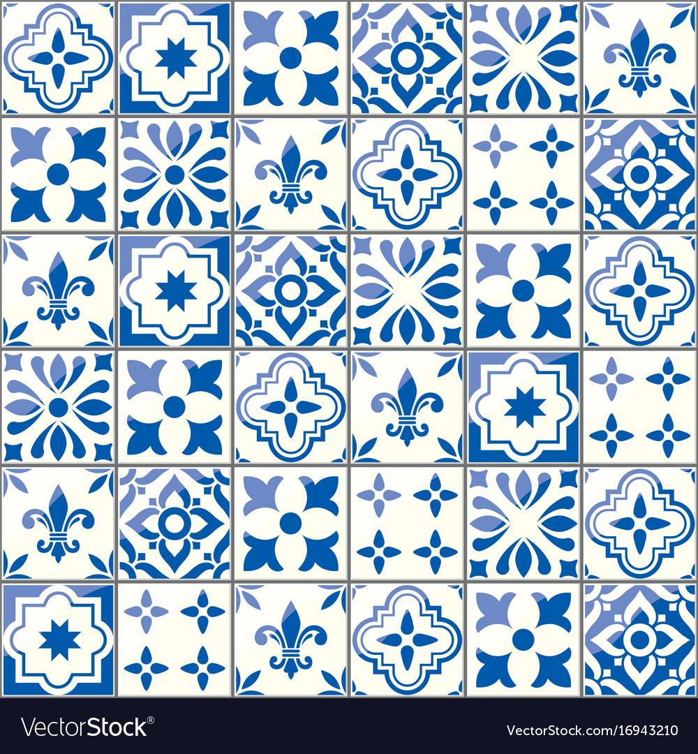Geometric Tiles Pattern Portuguese Vector Image