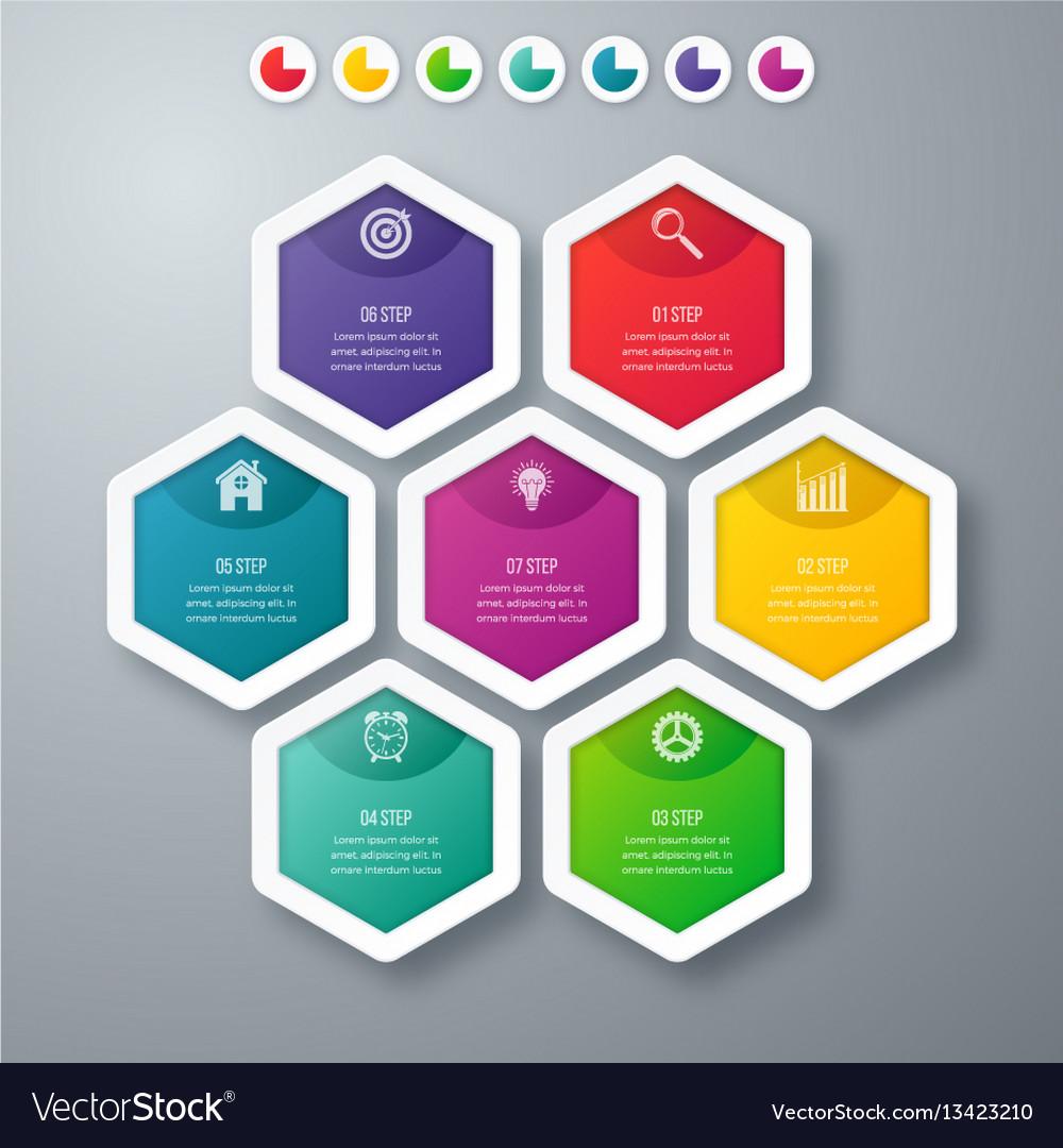 Infographics seven hexagons