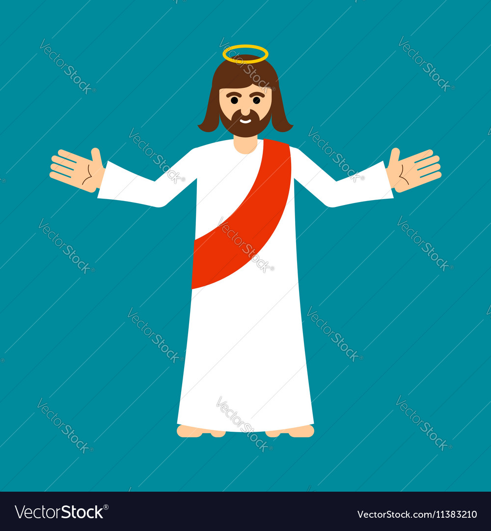 Jesus Christ is Son of God isolated Holy man open vector image