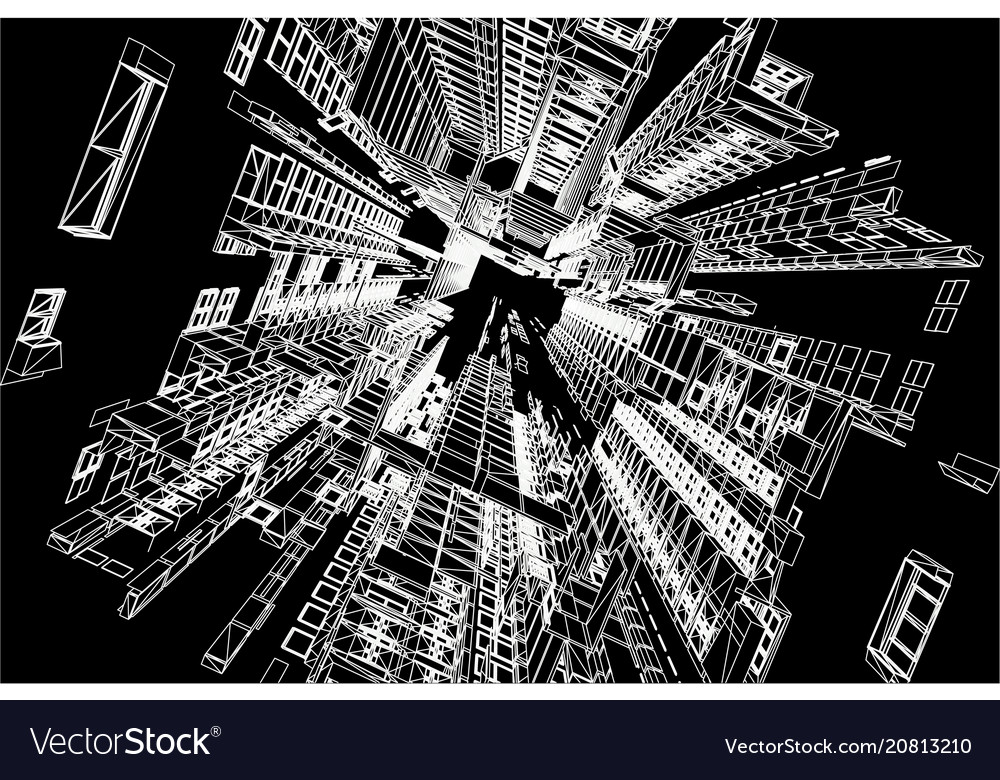 Modern architecture wireframe concept of urban