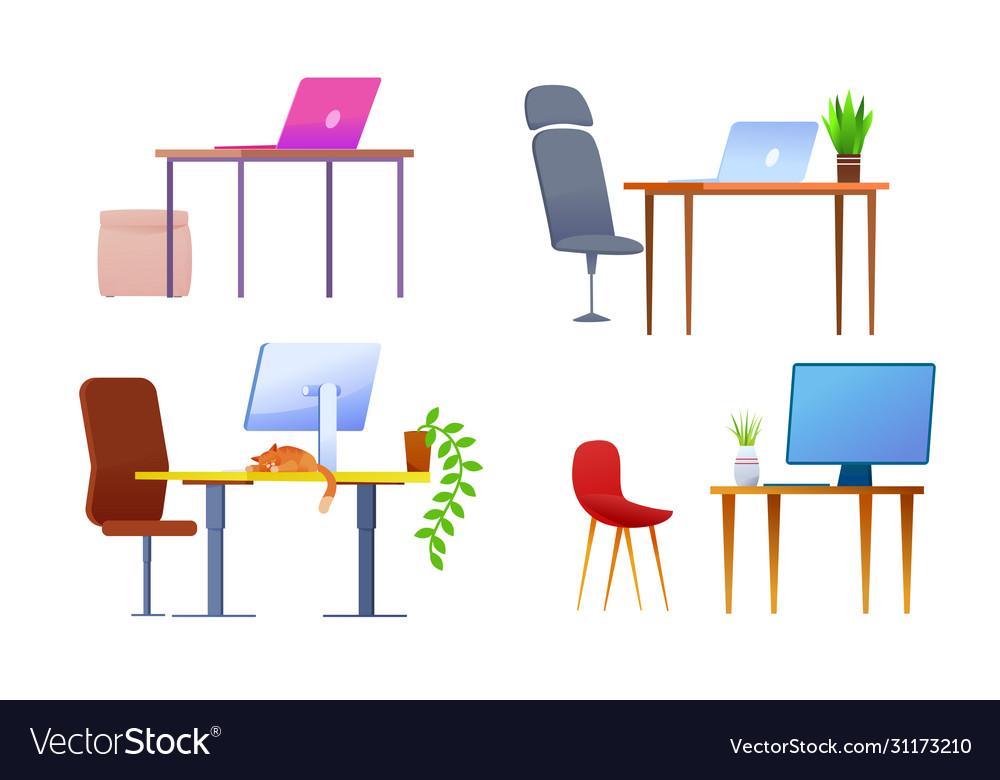 Modern office workplace desk cartoon set