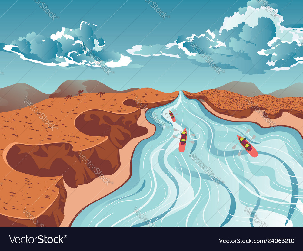 rafting on mountain river royalty free vector image rafting on mountain river royalty free vector image
