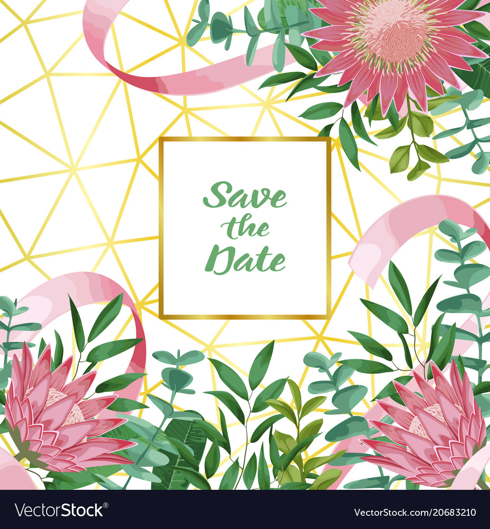 Save the date with geometric frame and greenery