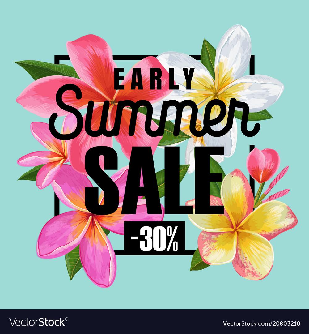 Summer sale floral banner seasonal discount ads