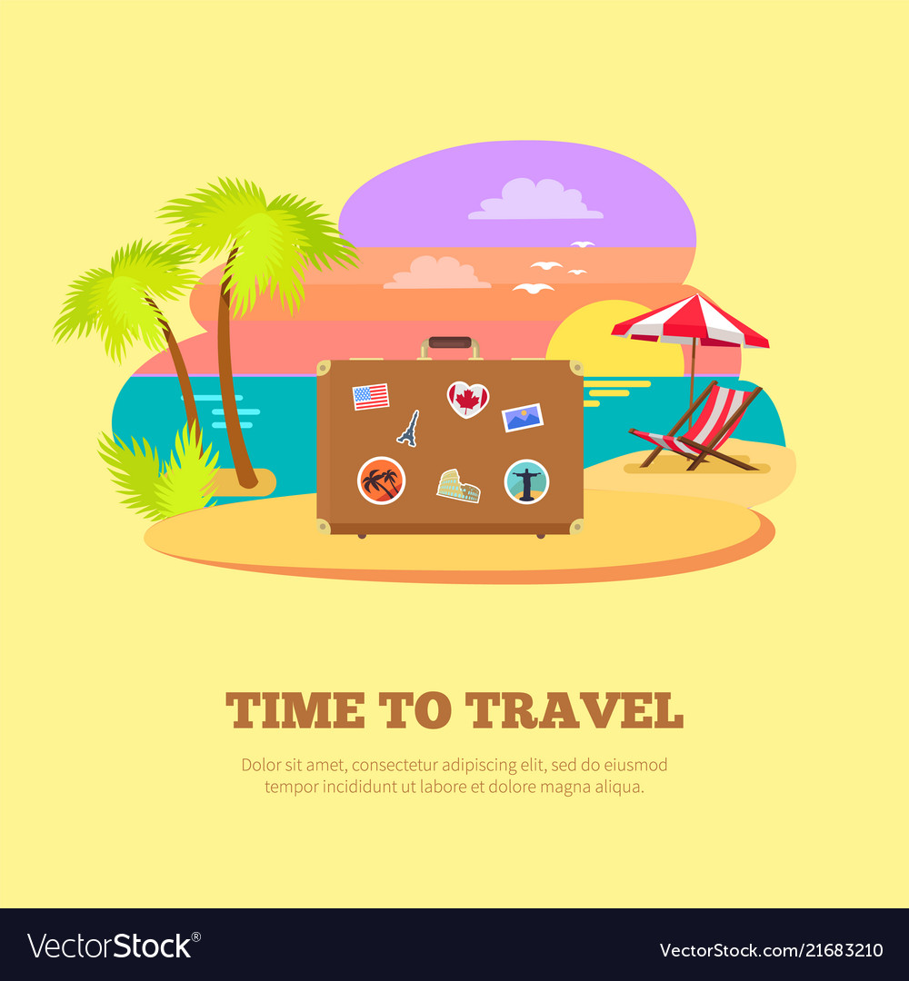 Time to travel promotional poster with suitcase