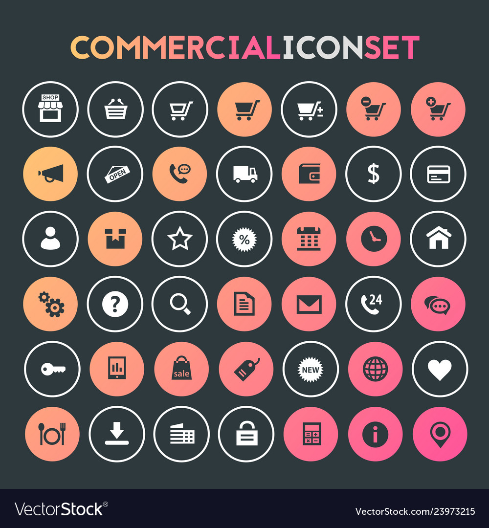 Big commercial icon set trendy flat icons