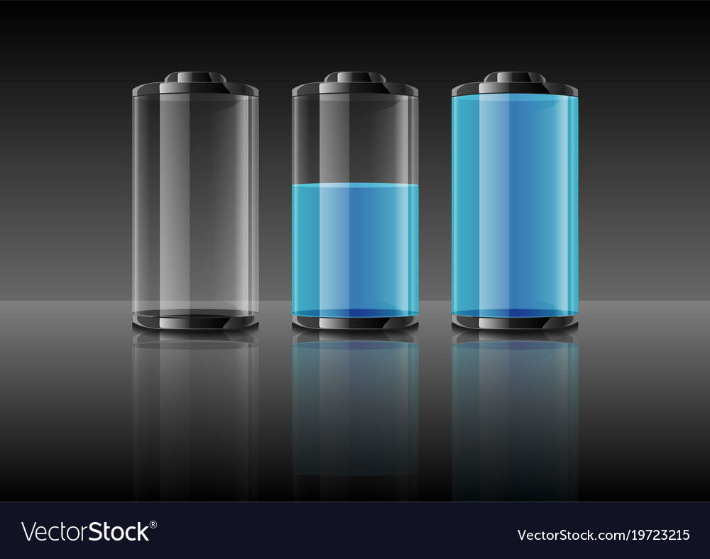 Blue battery on gradient grey background