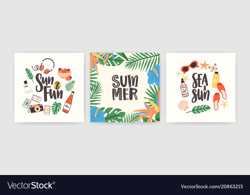 Collection of square summer cards with lettering