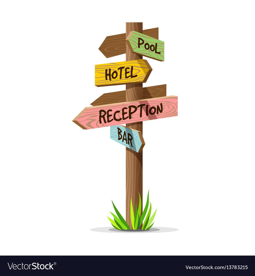 Colored wooden arrow resort signboard