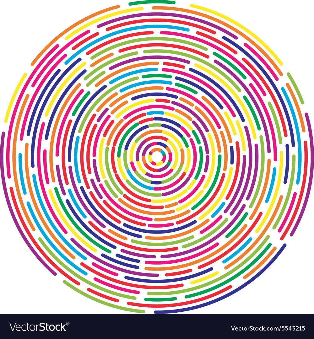 Colorful dashed random concentric circles abstract