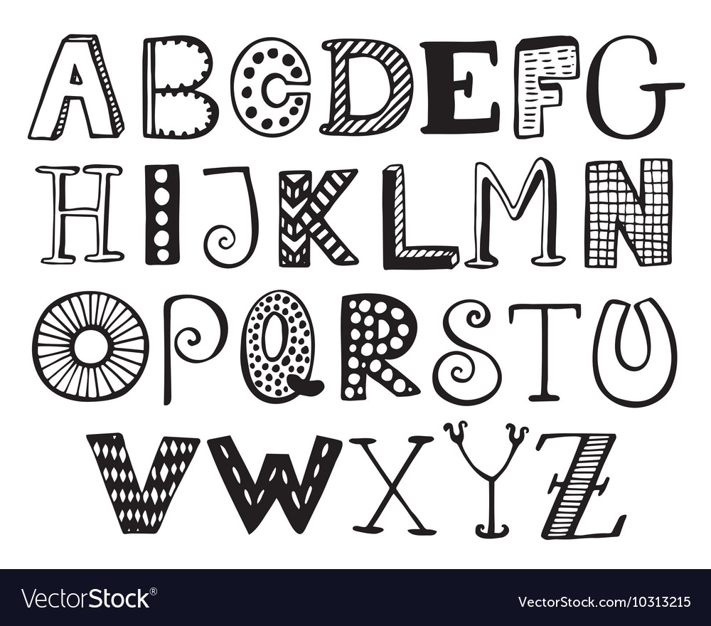Hand Drawn Fancy Alphabet Funny Doodle Letters Vector Image