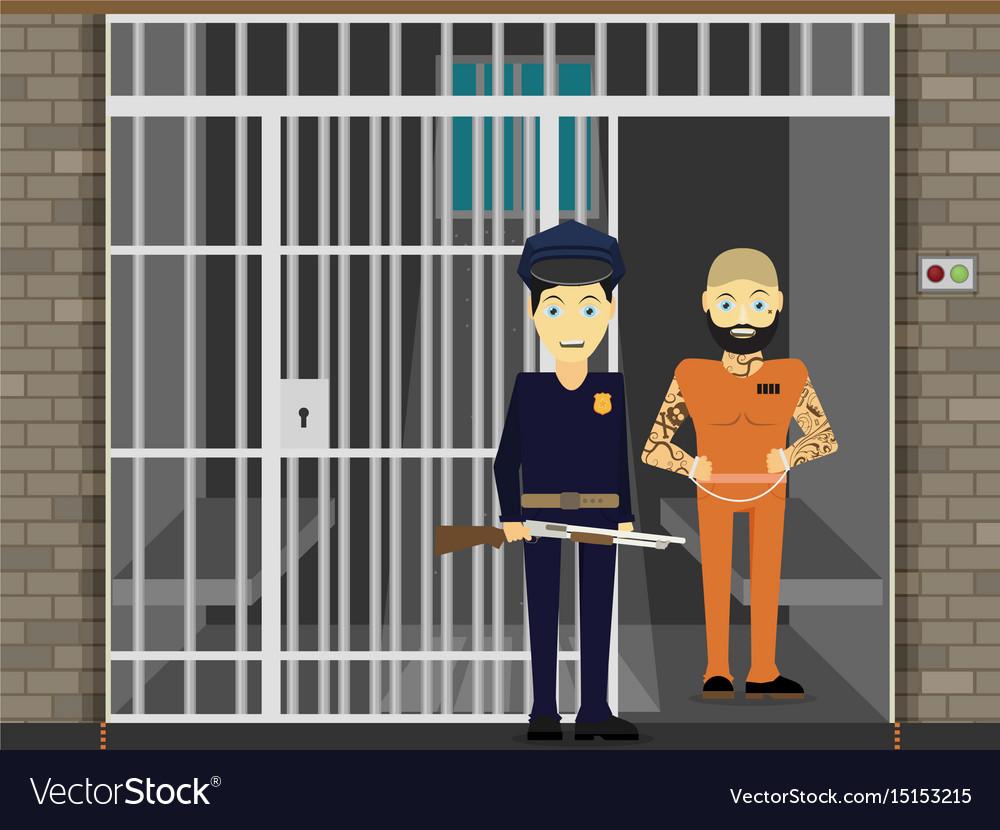 prisoner flat of prison cell royalty free vector image