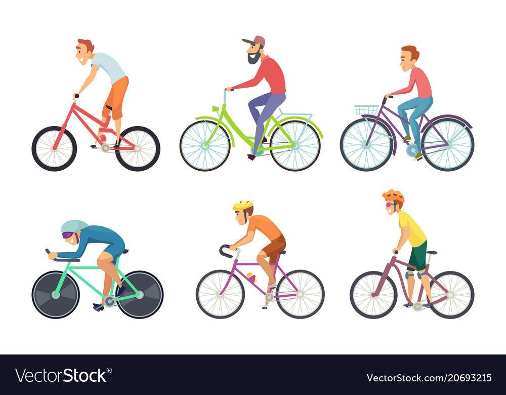 Set of bicycle sportsmen cartoon characters vector image