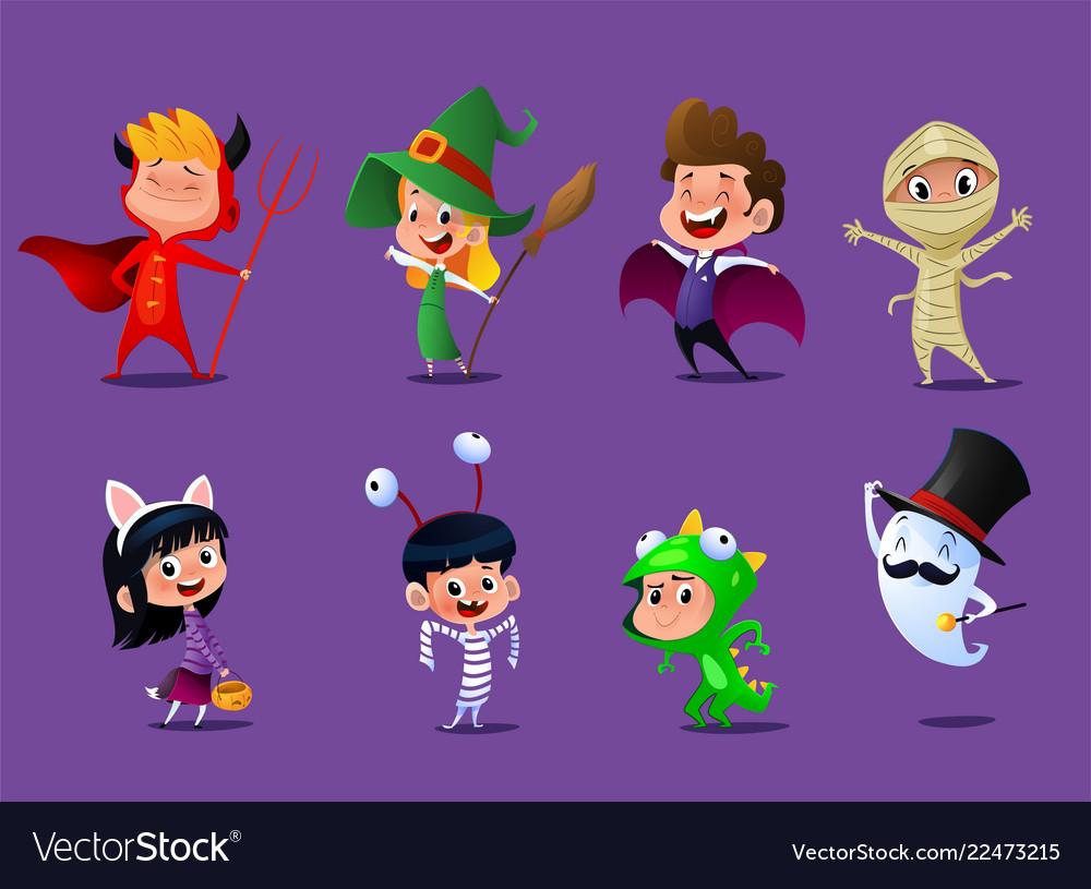 Set of cute cartoon children
