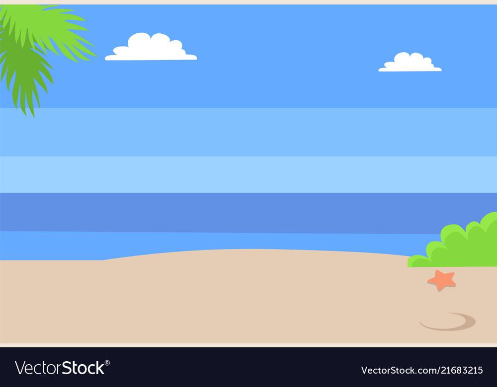 Summer beach landscape with blue sea hot sand sky