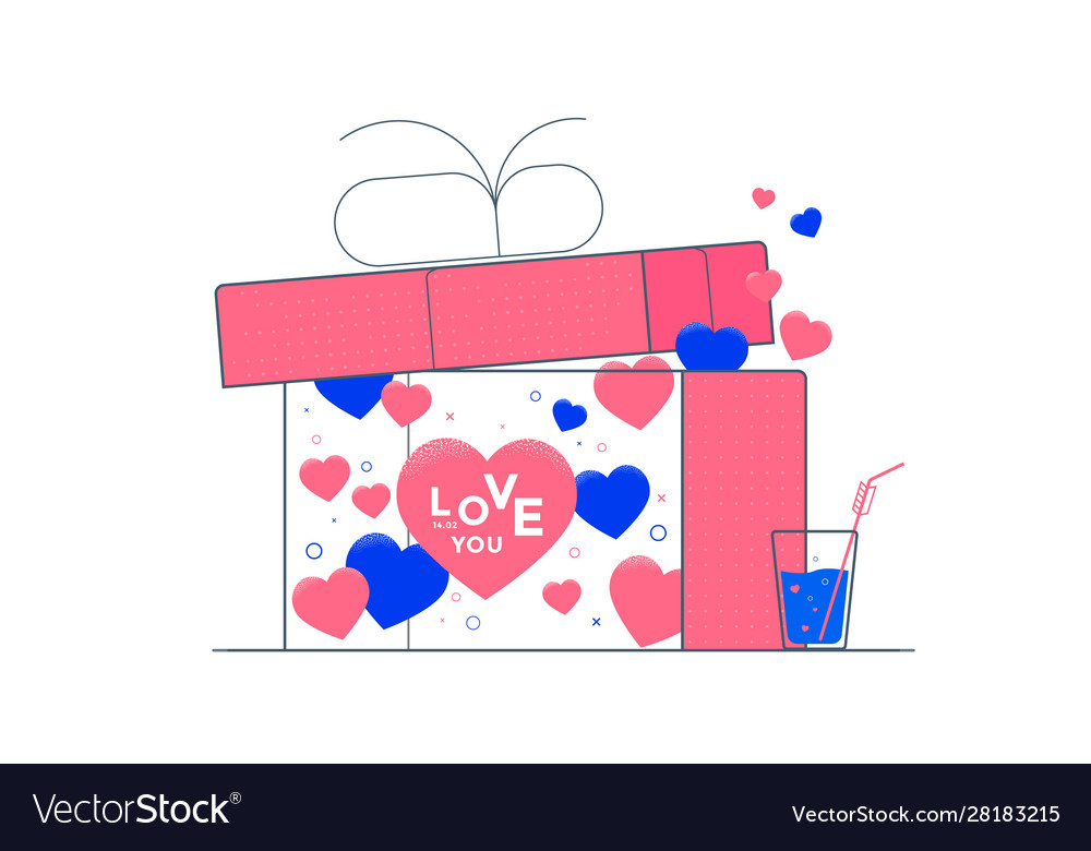 Valentines day with hearts and gift box